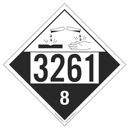 UN#3261 Corrosive Stock Numbered Placard