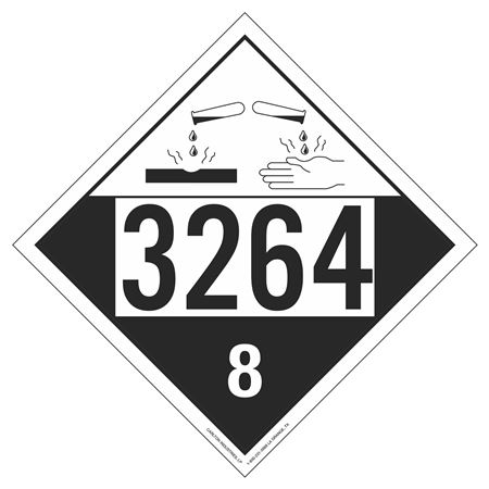 UN#3264 Corrosive Stock Numbered Placard