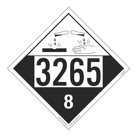 UN#3265 Corrosive Stock Numbered Placard