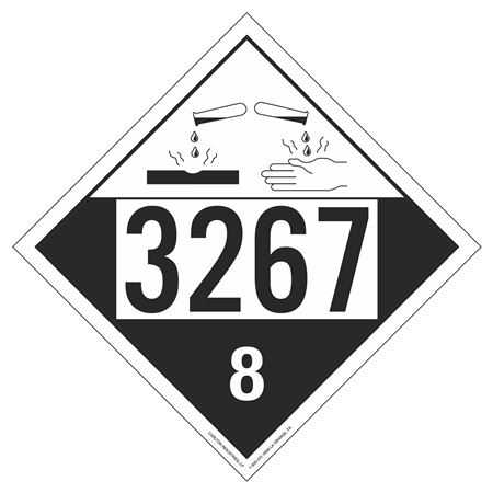 UN#3267 Corrosive Stock Numbered Placard