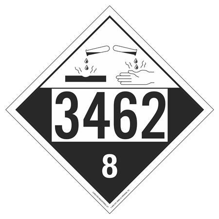 UN#3462 Corrosive Stock Numbered Placard