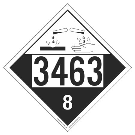 UN#3463 Corrosive Stock Numbered Placard