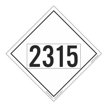 UN#2315 Hazardous Substance Stock Numbered Placard