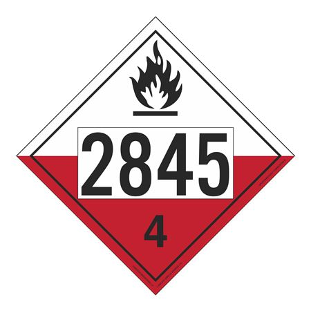 UN#2845 Spontaneously Combustible Numbered Placard