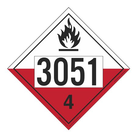 UN#3051 Spontaneously Combustible Numbered Placard