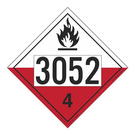 UN#3052 Spontaneously Combustible Numbered Placard