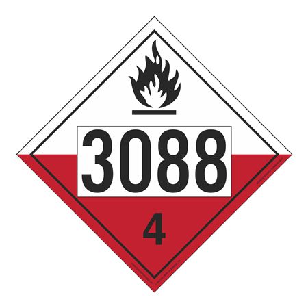 UN#3088 Spontaneously Combustible Numbered Placard
