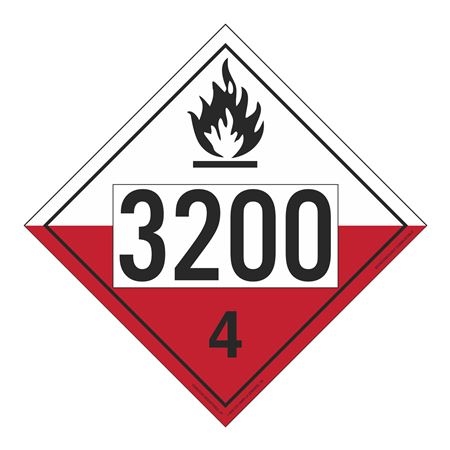 UN#3200 Spontaneously Combustible Numbered Placard