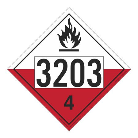 UN#3203 Spontaneously Combustible Numbered Placard