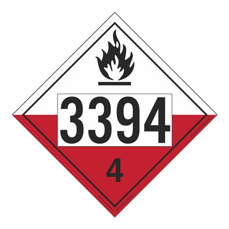 UN#3394 Spontaneously Combustible Numbered Placard