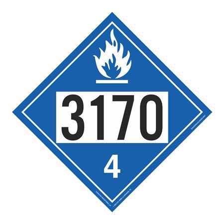 UN#3170 Dangerous When Wet Stock Numbered Placard