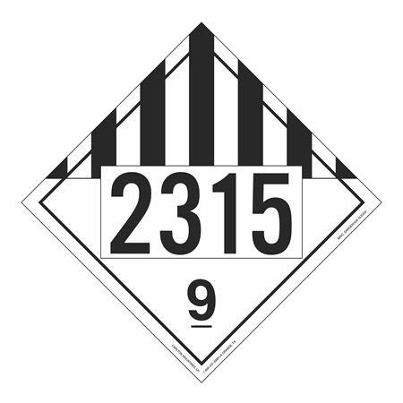 UN#2315 Class 9 Stock Numbered Placard
