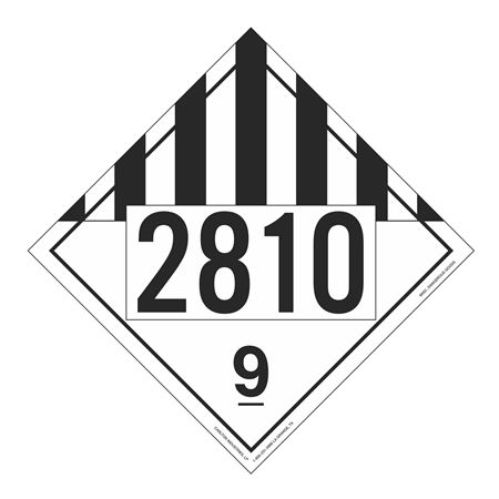 UN#2810 Class 9 Stock Numbered Placard