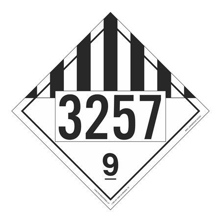 UN#3257 Class 9 Stock Numbered Placard