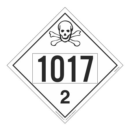 UN#1017 Poison/Toxic Gas Stock Numbered Placard