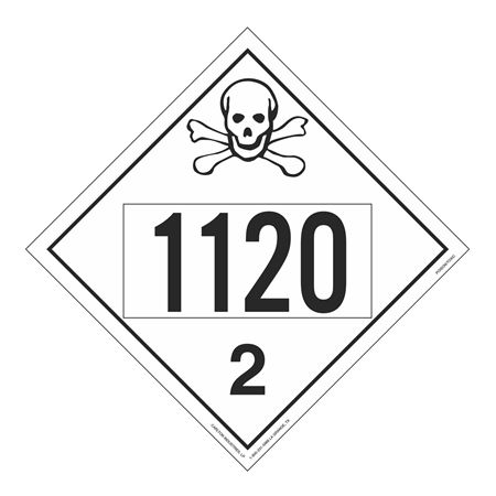 UN#1120 Poison Gas Stock Numbered Placard