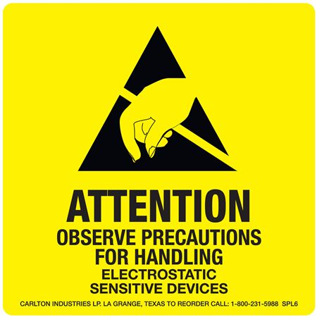 "Static Awareness - Attention Observe Precautions- 4"" x 4"" 500 Roll"