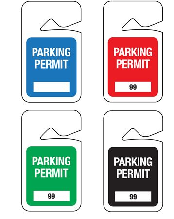 Stock Unnumbered Rearview Mirror Parking Permit Hanging Tags 2 7/8x4 7/8