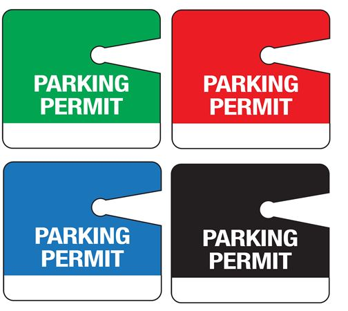 Stock Unnumbered Rearview Mirror Parking Permit Hanging Tag 3 1/2x4
