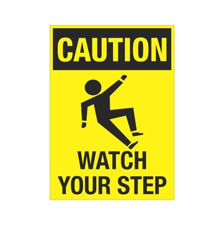 Caution Watch Your Step Graphic Sign