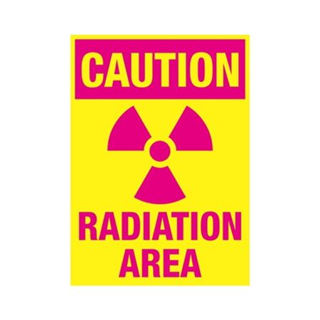 Caution Radiation Area Sign - Yellow/Hot Pink 10x14