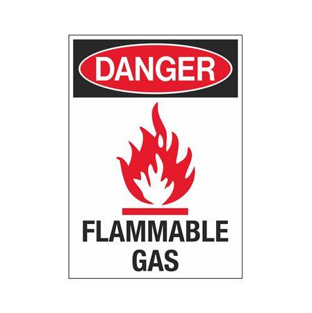 Danger Flammable Gas Symbol Sign - 10 x 14