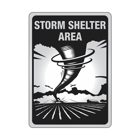 Aluminum Reflective Storm Shelter Area Sign 10 x 14