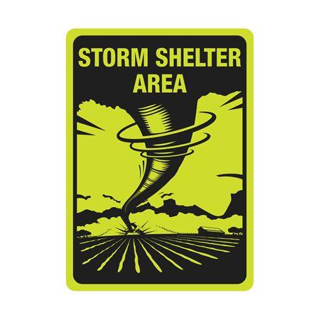 Luminescent Aluminum Storm Shelter Area Sign 10x14