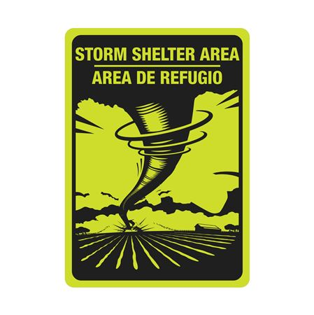 LUMN. ALUM 10x14 BILINGUAL STORM SHELTER AREA SIGN