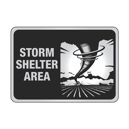 Aluminum Reflective Storm Shelter Area Sign 7x10