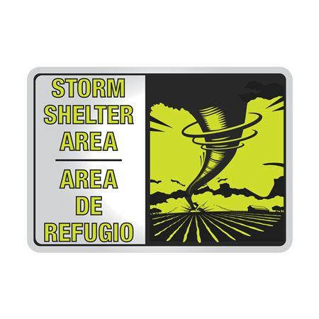 Aluminum Reflective Bilingual Storm Shelter Area Sign 7x10