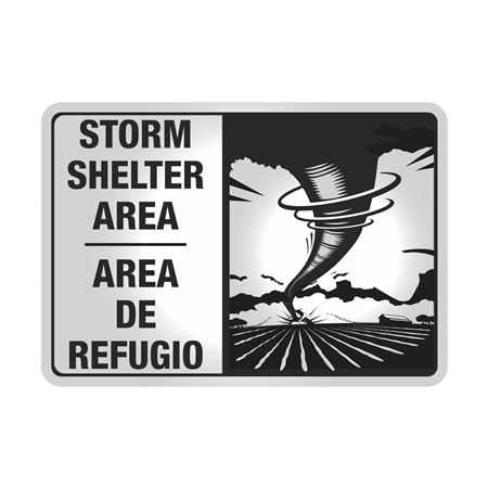 Reflective Aluminum Bilingual Storm Shelter Area Sign 7x10