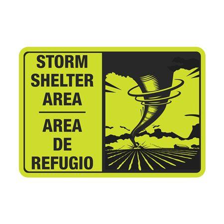 Luminescent Aluminum Bilingual Storm Shelter Area Sign 7x10