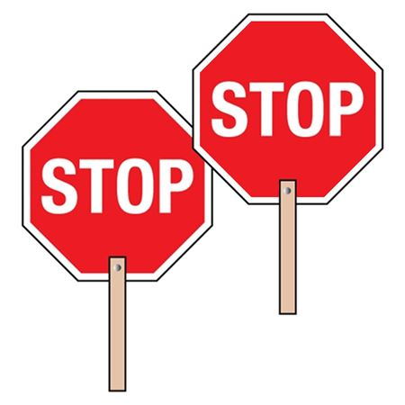 Two-Sided Paddle Signs - Stop/Stop