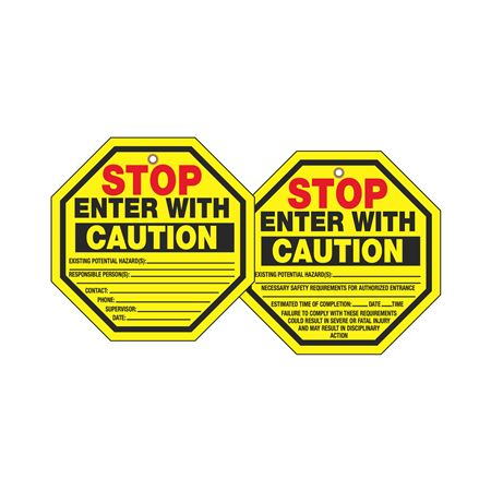 Stop Tags - Stop Enter With Caution 8 x 8