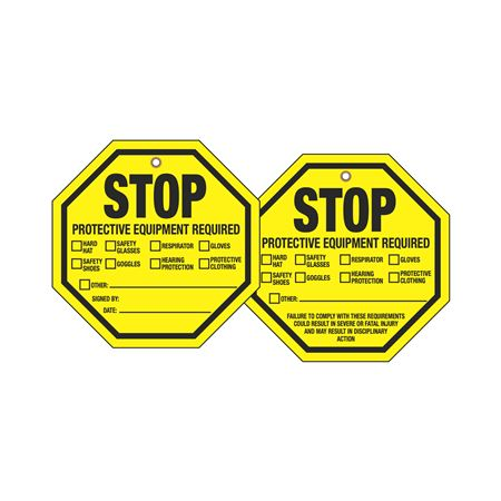 Stop Tags - Stop Protective Equipment Required 8 x 8