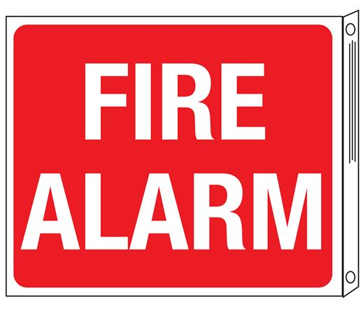 Two-Sided Flanged Signs - Fire Alarm 10x12