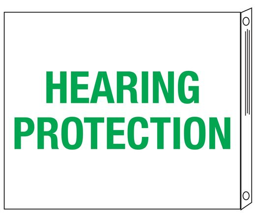 Two-Sided Flanged Signs - Hearing Protection 10x12
