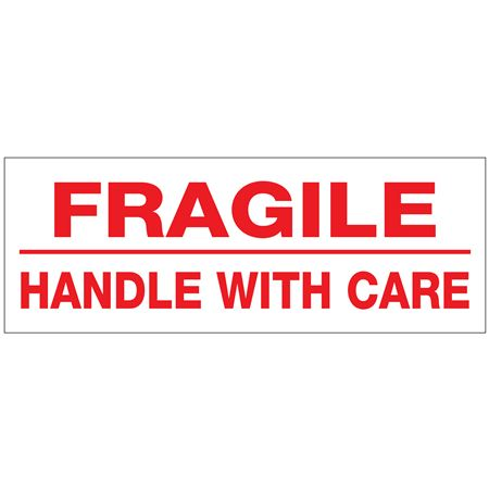 Printed Stock Shipping Tape - FRAGILE / HANDLE WITH CARE 2 inches by 110 Yards