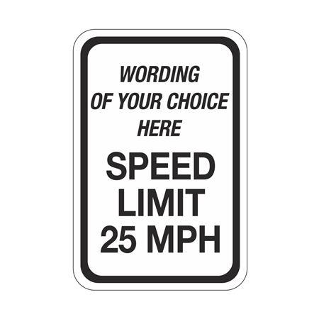 Semi-Custom Traffic Sign SPEED LIMIT MPH 12 x 18