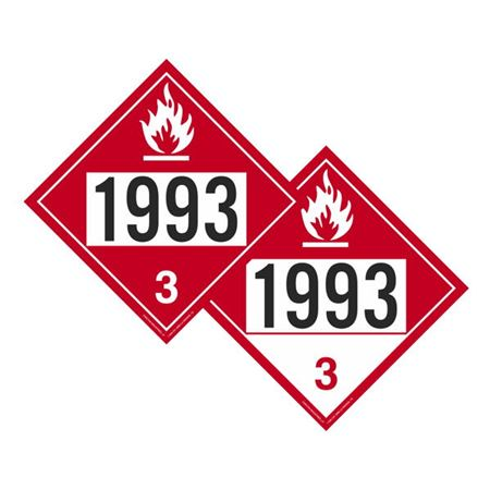 Two-Sided Placard 1993 Flammable/Combustible 10 3/4x10 3/4