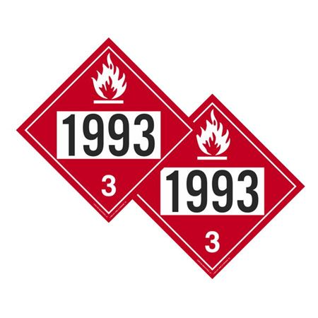 Two-Sided Placard 1993 Flammable/Flammable 10 3/4 x 10 3/4