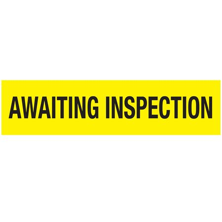 Non-Adhesive Pallet Tape - AWAITING INSPECTION (Black on Yellow) 3 in