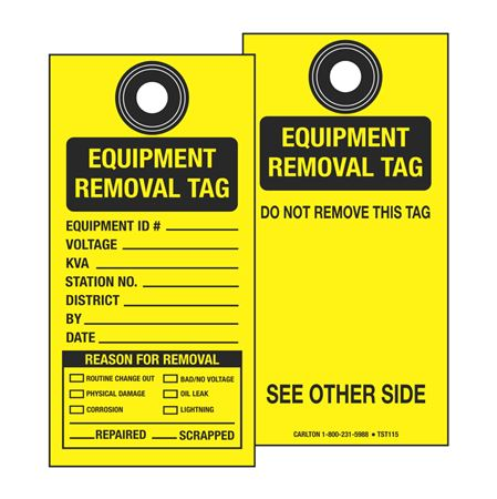 Self-Laminating Equipment Removal Tag 3 1/8 x 6 1/4