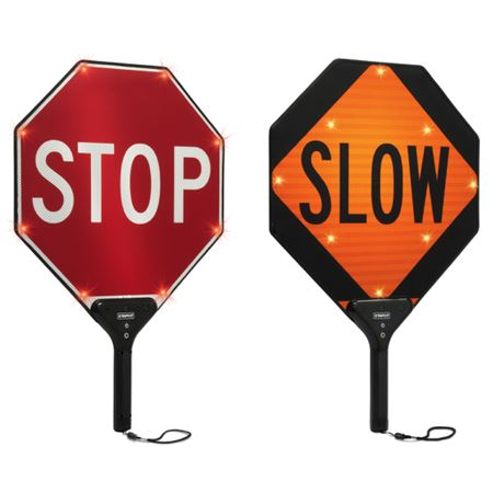 Two-Sided Illuminated Paddle Signs - Stop/Slow 18 Inch diameter