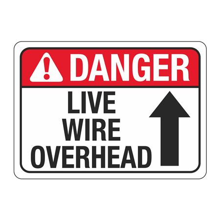 ANSI Danger Live Wire Overhead Sign - 10 x 14