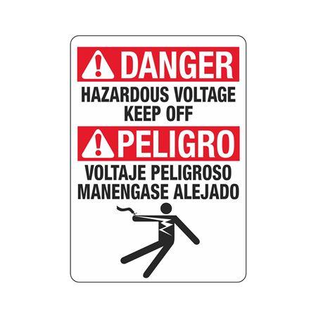 ANSI Danger Hazardous Voltage Keep Off (Bilingual) - 10 x 14