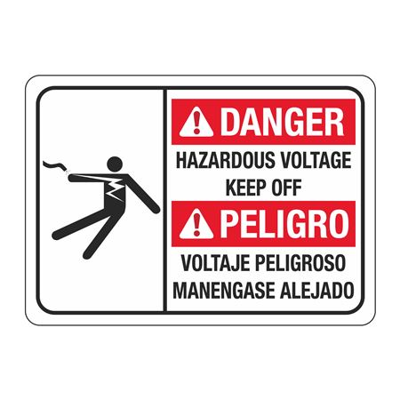 ANSI Danger Hazardous Voltage (Landscape) Sign - 10 x 14