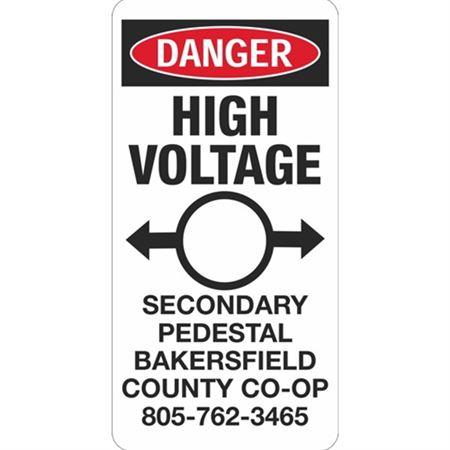 Danger High Voltage Secondary Pedestal -  6 x 12