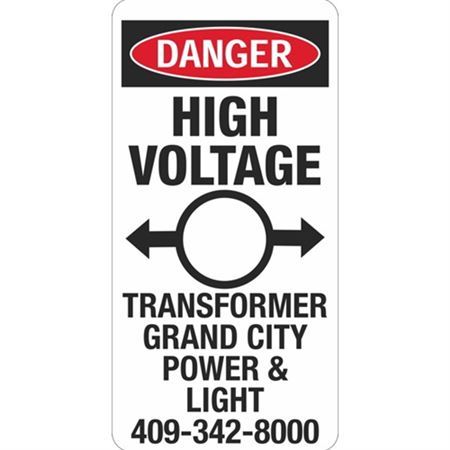 Danger High Voltage Transformer -  6 x 12